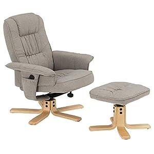 IDIMEX Fauteuil de Relaxation Charly avec Repose-Pieds Pouf, siège pivotant et Dossier inclinable, Assise rembourrée Confortable et Relax, revêtement en Tissu Gris