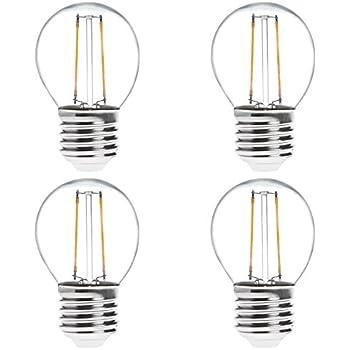 HERO-LED G16-DS-2W-WW27 Dimmable G14/G16 E26/E27 2W Edison Style LED Vintage Antique Filament Bulb, 25W Equivalent, Warm White 2700K, 4-Pack
