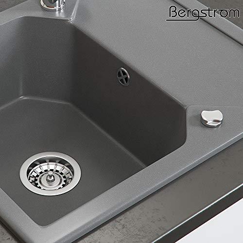 Siphon Bergstr/öm Sp/üle K/üchensp/üle Einbausp/üle Sp/ülbecken Granit Schwarz 590 x 500mm Drehexcenter