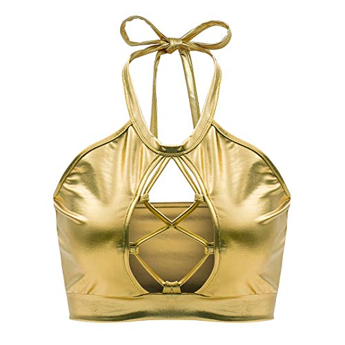 Bandeau Top Keyhole (Multifit Women's Sexy Keyhole Cutout Metallic Halter Rave Crop Top(Gold-L))