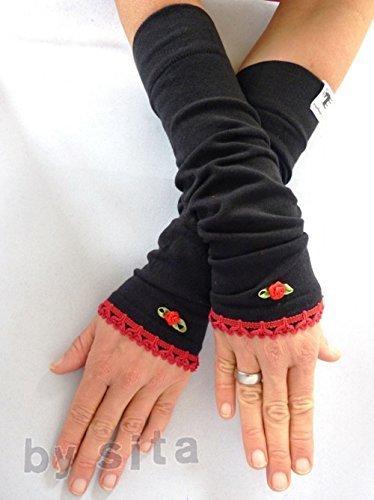Armstulpen, lang - schwarz, Borte rot mit Rose
