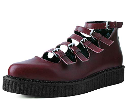 T.U.K. Shoes A9554L Womens Creepers, Red TUKskin Multi-Strap Pointed Mary Jane Creeper - US: Womens 6 / Red/Synthetic
