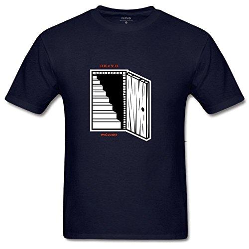 (Bart Perkin Men's Dead Door Open Halloween 100% Cotton Sleeves Short Sleeves Print T-Shirt L Navy)