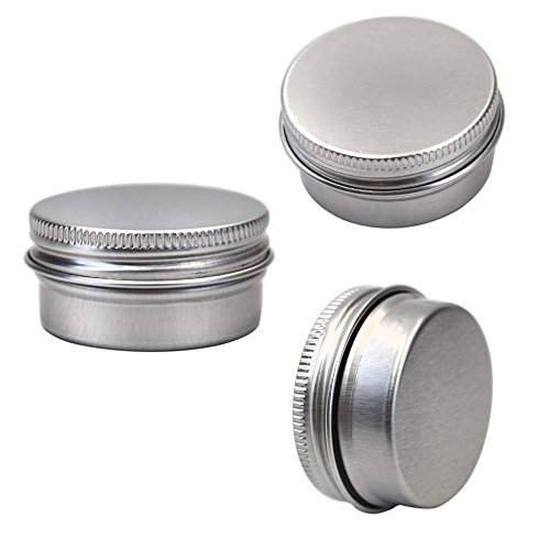 M-Aimee 1/2 oz Mini Aluminum Tin Jars Screw Cap Round Storing Can Container,Cosmetic Sample Metal Tins Empty Container,15ml (24 pack)