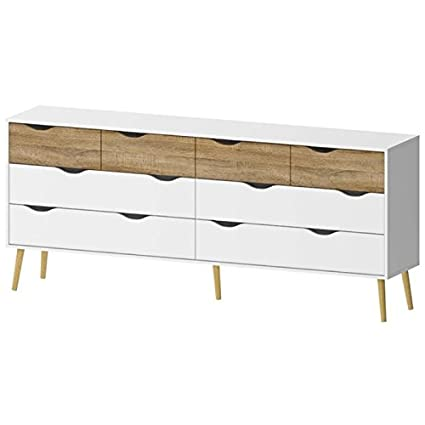 Pemberly Row 8 Drawer Dresser in White and Oak