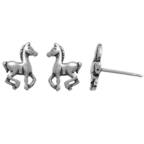 Boma Jewelry Sterling Silver Prancing Pony Horse Stud Earrings