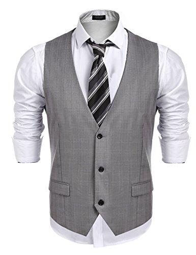 (COOFANDY Men's Business Suit Vest,Slim Fit Skinny Wedding Waistcoat (XXX, Small) Gray)