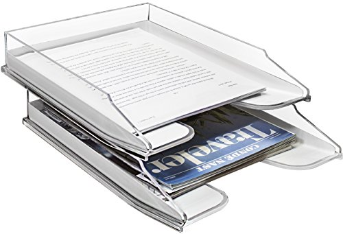 - Sorbus Letter Tray, Modern Acrylic Paper Organizer Tray, Clear Desk File Holder - 2 Level, Desktop File, Stackable Magazine Holder, Mail Sorter, Great for Home or Office, (File Holder Tray Set)