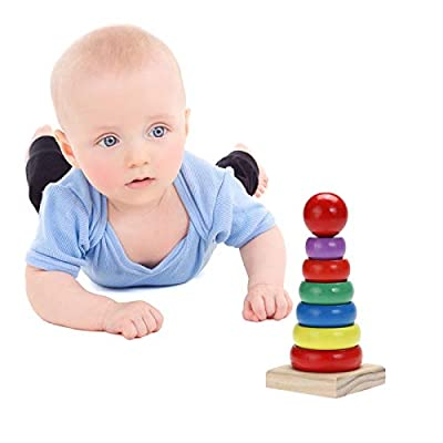 Wooden Adult Educational Toys Colorful Small Rainbow Tower Column Early Education Intellectual Wood Toys kids toys Early Education Wood Toys: Everything Else