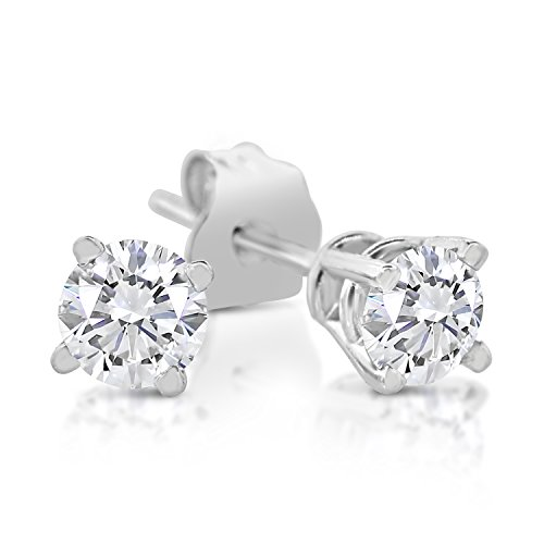 1/4ct tw Diamond Stud Earring in 14k White Gold by Sk Jewel,Inc