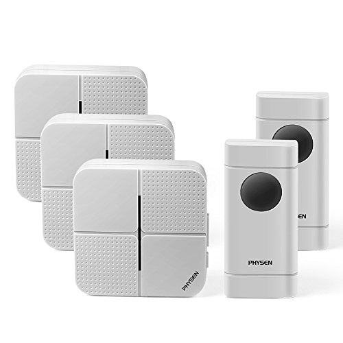 Three Button Transmitter - physen Model X5 Waterproof Wireless Doorbell kit with 2 Push Button and 3 Plugin Receiver,Operating Range at 900 Feet,4 Adjustable Volume Levels and 52 Chimes,No Battery Required for Receiver,White
