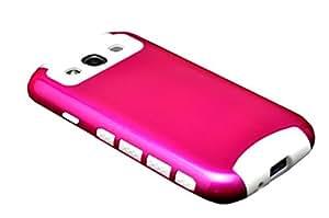 Samsung Galaxy S3 Rose Hot Pink Hybrid Tough Armor Mate Snap- On Deferder Case -USA Seller