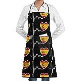 Qotuyou&me Apron Kitchen Cooking/BBQ/Grill, Adjustable Bib Apron Pockets Spain Flag Heartbeat-1 Pattern