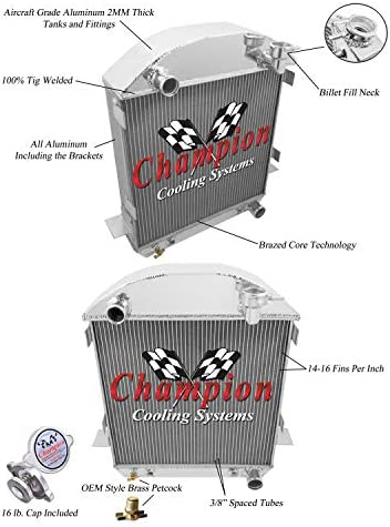 Ford Model A Aluminum 3 Row Champion Radiator 1917-1927
