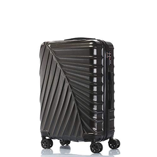 LDHY 24 Hard Luggage, ABS/PC Hard Shell Universal Wheel Boarding, Portable Password Lock Box, Student Travel Trolley, 20-inch Lightweight Suitcase, 3KG (56CM, 50L)-Black-[20in] 36x23x48cm