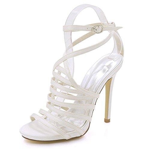 Hebilla Zapatos Abierta Verano Fiesta Sandalias L Dama Tamaño De Mujer 8 yc Alto Ivory 3 Corte Honor Tacón Gran w0wvtq