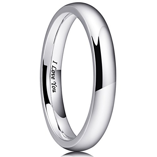 King Will 3mm Stainless Steel Ring Original Color Full High Polished with Laser Etched I Love You