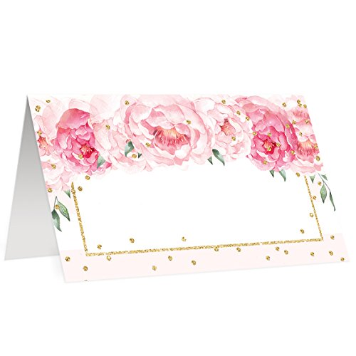 (50 Pack Table Place Cards All Occasion Assigned Seating Escort Placecard Blush Pink Peonies Scored Folded Tented 3.5