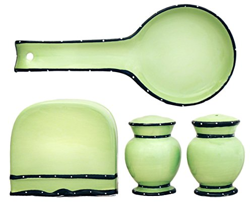 Tuscany Pistachio Green, Ruffle 4pc Stove Top Set, Napkin,Salt, Pepper and Spoon Rest, 85425/28 by ACK