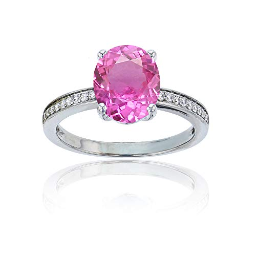 (Sterling Silver Rhodium 1mm Round Created White Sapphire Channel Set & 10x8 Oval Created Pink Sapphire Engagement Ring)