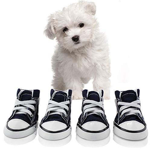 abcGoodefg Pet Dog Puppy Canvas Sport Shoes Sneaker Boots, Outdoor Nonslip Causal Shoes, Rubber Sole+Soft Cotton Inner Fabric (#2(1.331.73), Blue) Dog Pet Sports Shoes