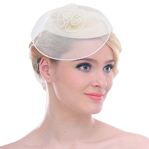 FAYBOX Vintage Mesh Wool Felt Pillbox Flower Women Fascinator Hat Hair Clip BEG by FAYBOX