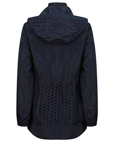 Lightweight Navy Hooded Reefer Funnel Dot Women's Collection Jacket JBC Neckline Shopper Patterned Anorak Pockets Net PqFEF6Xwx