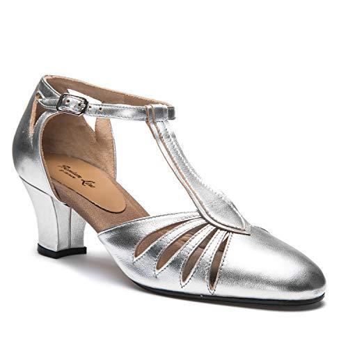 Latino 5 Baile Salón 9210 ¡Hechos en tacón Zapatos Balboa Mujer cromo Plateado Rumba Tango Italia Salsa de cm Rumpf suela Cuero EwgqXZZ