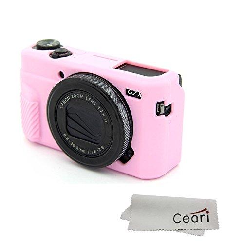 CEARI Silicone Case Rubber Camera Protective Cover Skin for Canon PowerShot G7X Mark II Digital Camera + Microfiber Cloth - Pink