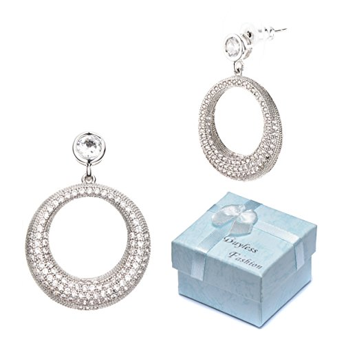 Buyless Fashion Hypoallergenic Surgical Steel CZ Studded Wedding Dangle Large Circle Earring In Gift Box-EDGCRSLV -