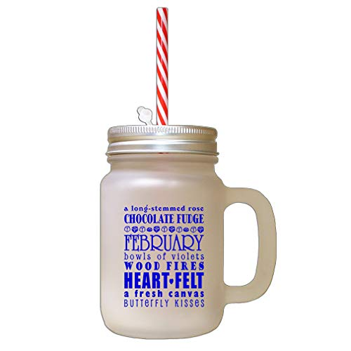 Royal Blue Long Stemmed Rose Chocolate Fudged February Bowls Frosted Glass Mason Jar With Straw