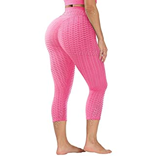 HURMES Women's High Waist Capri Ruched Butt Lifting Workout Leggings Yoga Pants Textured Booty Scrunch Anti Cellulite Tummy Control Capris Tights Pink