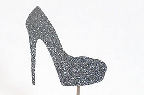 Silver Glitter High Heel Cupcake Toppers-10 Pieces for Birthdays/Bachelorette/Bridal Shower by The Crafty Owl