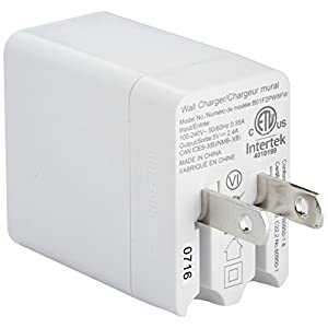AmazonBasics One-Port USB Wall Charger (12-Watt) Compatible With iPhone and Samsung Phones - White (2-Pack)