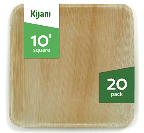 Kijani Biodegradable Palm Leaf Plates - 10 Inch Square - Elegant & Sturdy Like Bamboo - Eco-Friendly, Disposable & Compostable Dinnerware - 20 Pack