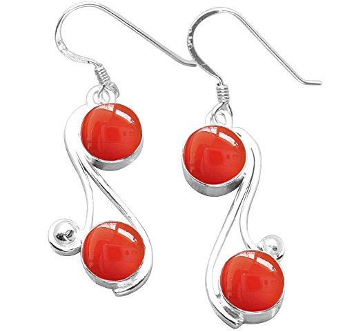 Sterling Silver Carnelian Earrings - 9