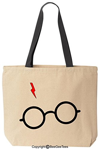BeeGeeTees Wizard Glasses Bolt Reusable Canvas Tote Bag (Black Handle)