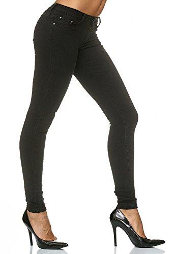 Fit Stretch Pantaloni Skinny Jeans Donna Nero D2182 qIwZ0