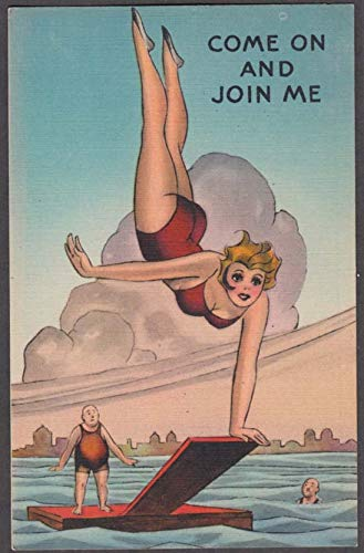 Come & Join Me blonde cleavage on diving board comic postcard 1940s