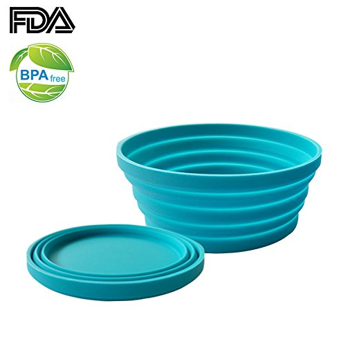 Price comparison product image Ecoart Silicone Expandable Collapsible Bowl for Travel Camping Hiking, Blue (1 Pack)