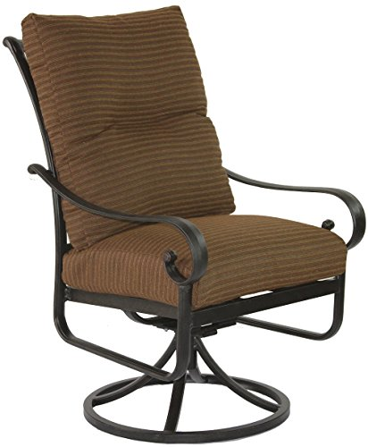Heritage Outdoor Living Cast Aluminum Tortuga Outdoor Patio Swivel Rocker with Cushion - Antique Bronze Finish - Set of 2