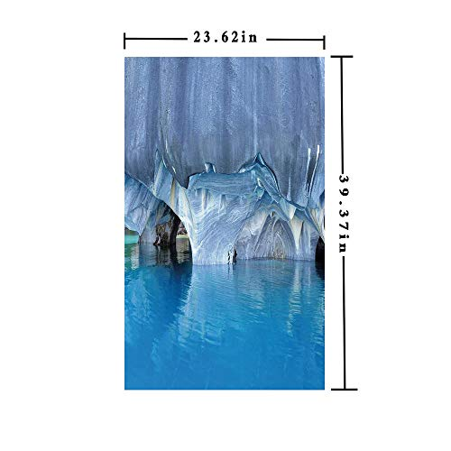 No Glue Static Cling Window Film decorate by Marble Cave General Carrera Lake in Chile Natural Wonders Rocks Azure Water,W15.7xL63in,For Living Room Bathroom Kitchen Front Door with Blue Purplegrey W ()