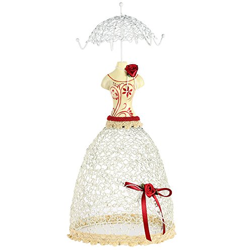 Cade Sweet Princess Mannequin Jewelry Earring Necklace Stand Display-6 Hooks (White&red)