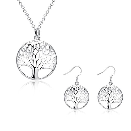 IrbingNii Tree of Life Pendant Necklace, 925 Sterling Silver Earrings Necklace Ear Studs Polished Women Girls Gifts Jewelry Sets (Tree of Life) 925 Silver Earrings Pendant