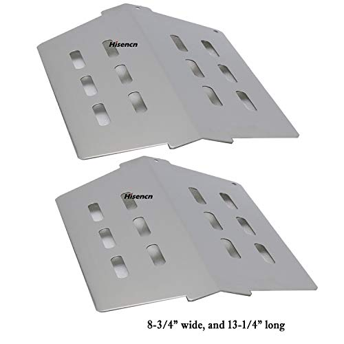 """Hisencn Heat Deflector for Weber Genesis 300 (2011 & Newer Model) Front Mounted Control Panels, Flavorizer Bar, Heat Plate, Burner Cover Replacement for 7622 (13 1/4"""" X 8 3/4) (2 Pack)"""