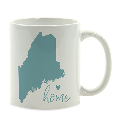 Andaz Press 11oz. US State Coffee Mug Gift, Aqua Home Heart, Maine, 1-Pack, Unique Hostess Distance Moving Away Christmas Birthday Gifts for Her