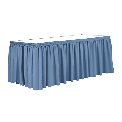 Ultimate Textile 7 ft. Shirred Pleat Polyester Table Skirt - 36'' Counter Serving Height, Periwinkle Blue by Ultimate Textile