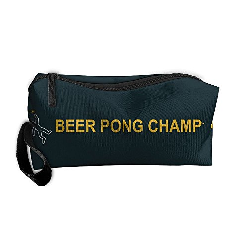 HSs4AD Beer Pong Champ Fun Drinking Game Best Graphic Cosmetic Travel Toiletry Makeup Bag Portable Pouch Hanging Organizer (Champ Uniform)