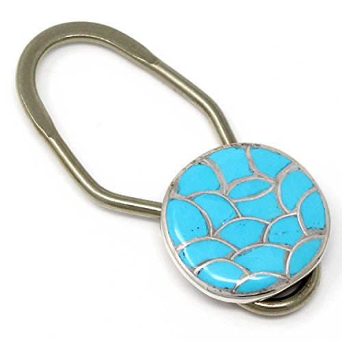 L7 Trading Zuni Silver & Turquoise Inlay Key Ring Handcrafted by Zuni Artist - Handcrafted Turquoise Ring