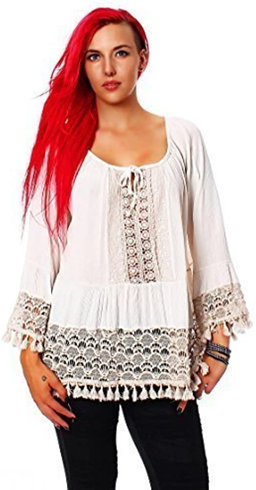 Moda Italia túnicas de mujer blusa 7/8 Pobres Viscosidad Cord Trim Top Carmen Blusa medieval disfraz de tradicional Blanco blanco Medium: Amazon.es: Ropa y accesorios